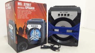 Parlante Portatil Ms-377bt Usb Sd Mp3 Bluetooth Fm Luces Led