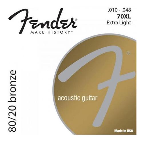 Imagen 1 de 10 de Encordado Guitarra Acustica Fender 70xl 010-048 Cuotas