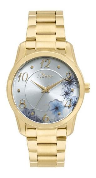 Relógio Feminino Dourado Condor Kit Jóia Co2035krh/k4t.