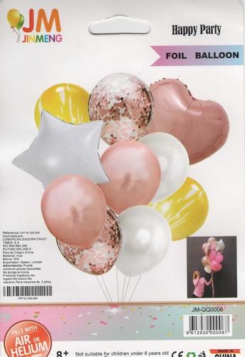 Imagen 1 de 4 de Kit De Globos Metalizados Feliz Cumpleaños Decorativo X 10