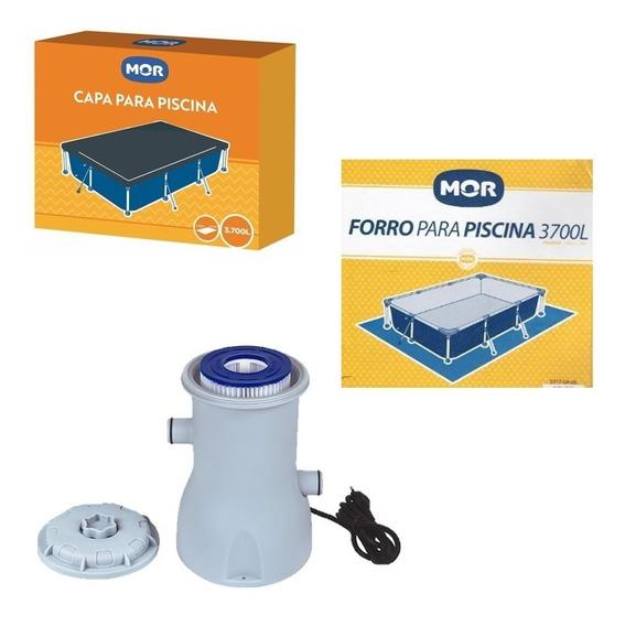 Kit Filtro 2200 L/h + Capa + Forro Para Piscina 3700 L Mor