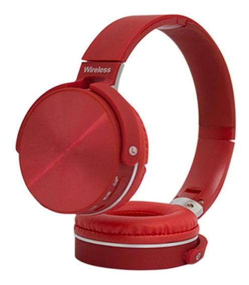 Fone De Ouvido Wireless Bluetooth Headset Microfone Vermelho