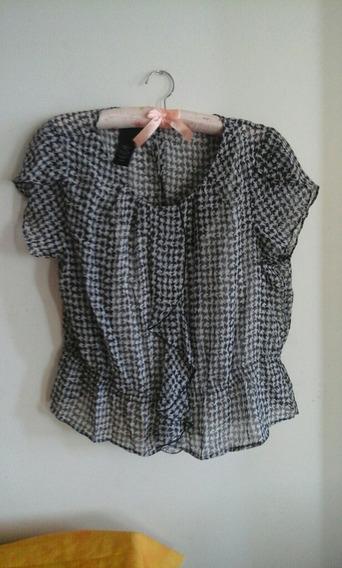 Blusa Para Damas Talla L-xl, Elegante,color Negro Con Blanco
