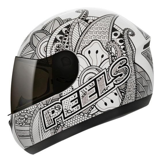 Capacete Peels Spike Indie Branco E Preto Moto Com Nf