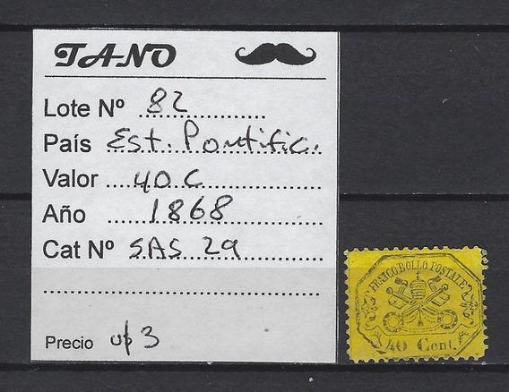 Lote82 Italia Est.pontificio 40 Centes. Año 1868 Sass#29