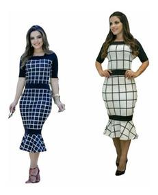 Vestido Midi Justo Longuete Moda Evangelica Gospel Oferta