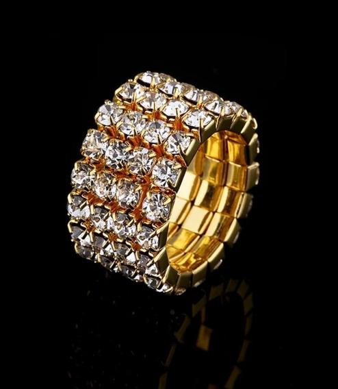 Anel Em Strass Dourado Regulável 4 Voltas Brilho Festa Noiva