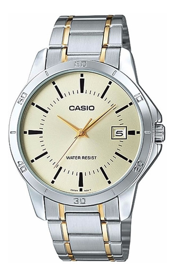 Relógio Casio Masculino Prata E Dourado Visor Claro Com Data