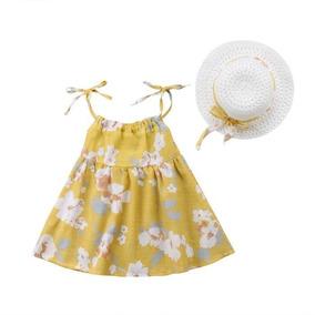 Lindo Kit Verão - Vestido + Chapéu - Amarelo