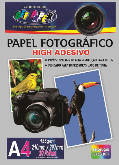 2 Papel Fotografico Inkjet A4 High Adesivo 135g C/20