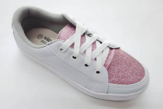 Tênis Infantil Menina Casual Salto Grosso Branco Com Glitter