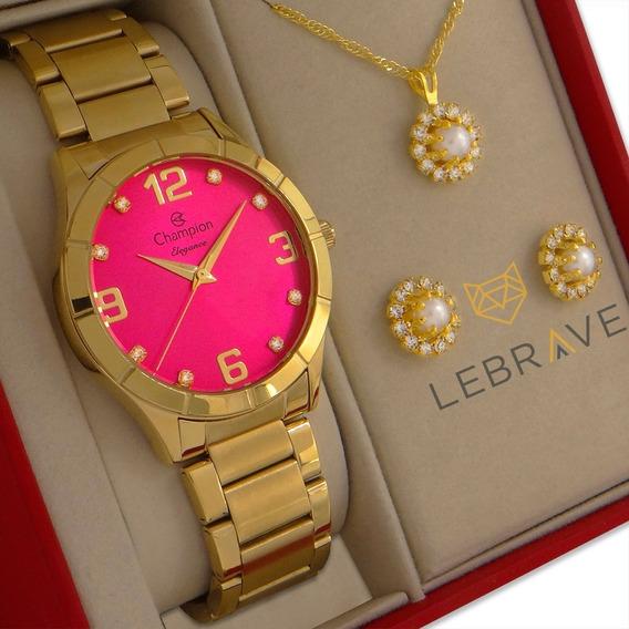 Relógio Champion Feminino Dourado Ouro 18k + Colar E Brincos