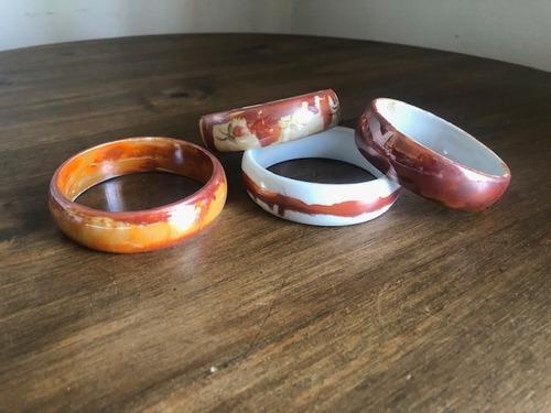 Imagem 1 de 6 de Kit 4 Pulseiras Porcelana Pintadas A Mão