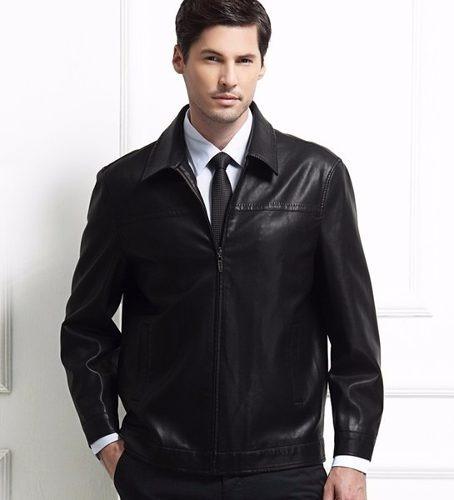 Jaqueta Importada Masculina Elegante Couro Verdadeiro Preto