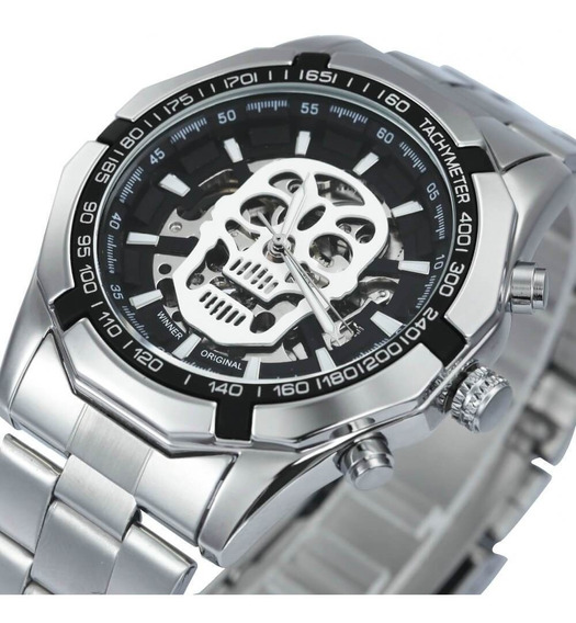Relógio Caveira Twinner Prata Skull Watch Waterproof Promo