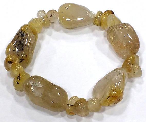 Pulseira Cristal De Quartzo Rutilado Pedra Natural Qualidade