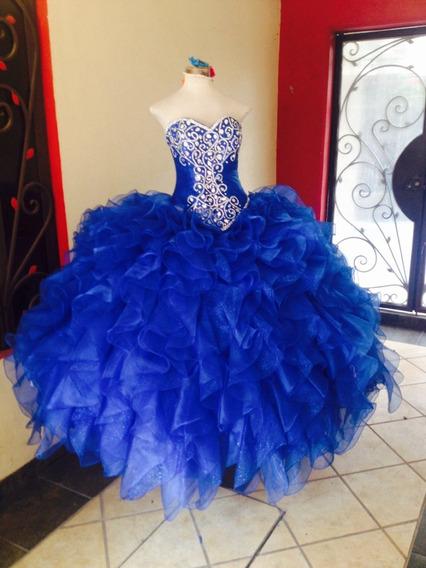 Vestido De Xv Años Azul Rey , Creaciones Xanthe! Nuevo