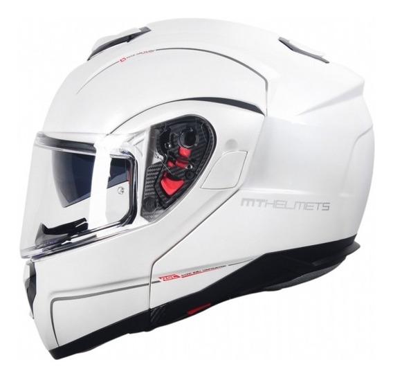Capacete Moto Mt Sv Atom Solid Gloss White Motoqueiro