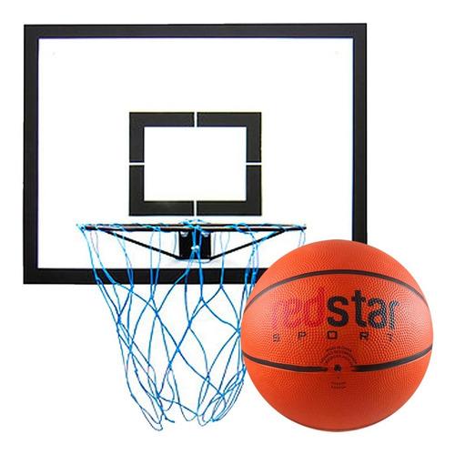 Imagem 1 de 3 de Tabela Basquete 50x65cm Aglomerado + Aro E Cesta + Bola 7