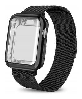 Pulseira Milanese Aço + Capa Premium Compatível Apple Watch