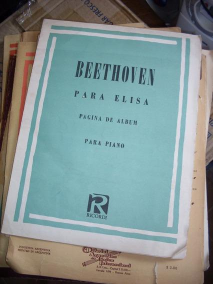 Beethoven. Para Elisa. Pagina De Album. Para Piano. Ricordi