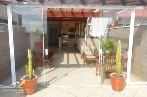 Cobertura Com 2 Dormitórios À Venda, 140 M² Por R$ 550.000 - Vila Pires - Santo André/sp - Co1023