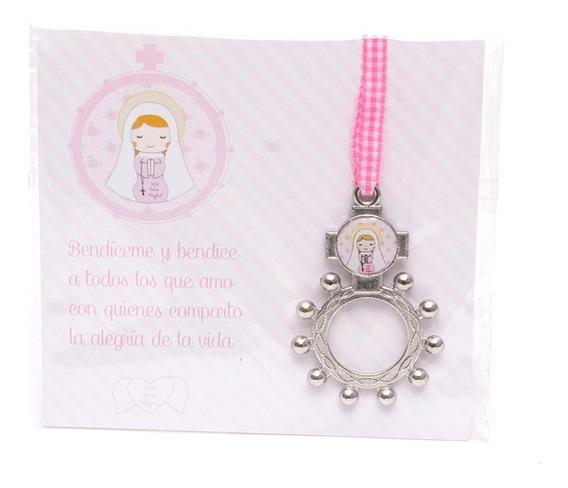 Souvenir Salve Regina Denario Comunión Virgen Niña Nena Rosa