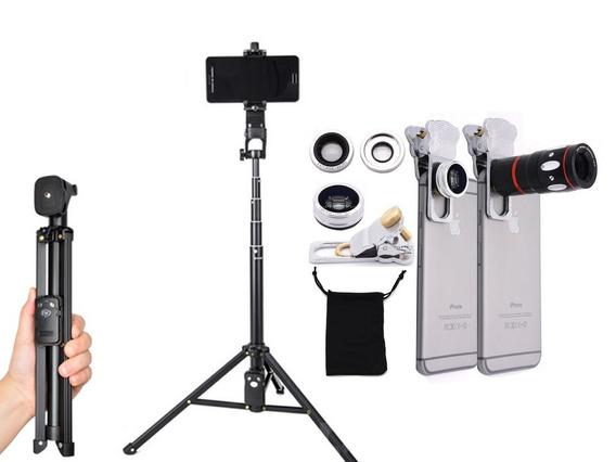Tripé Universal Telescópico Câmera E Celular + Kit Lentes