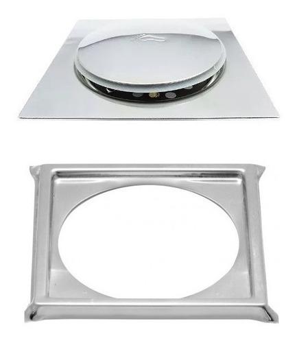Ralo Inteligente Pop Up Click 10x10 Cm Clic Inox 1,3mm + Porta Grelha
