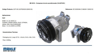 Compresor Fiat Palio Uno Novo Way Mahle