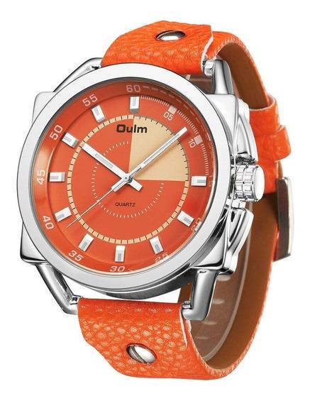 Relógio Pulso Masculino Laranja Oulm 3192 Barato Lançamento