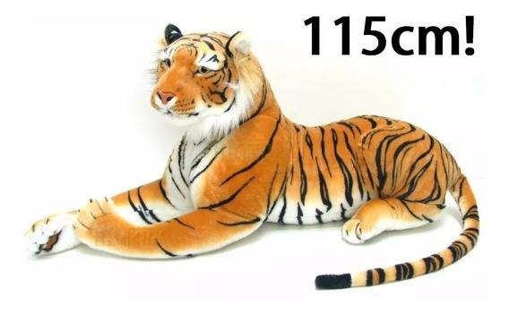 Tigre Pelúcia Grande Realista 115cm Comprimento Importado