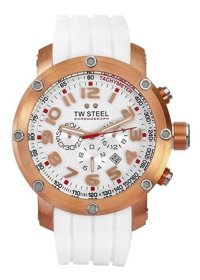 Reloj Tw Steel Grandeur Tech Blanco Dorado Tw133 Silicon