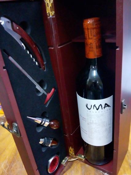 Set Vino Cofre De Madera + 5 Accesorios + Vino Boutique