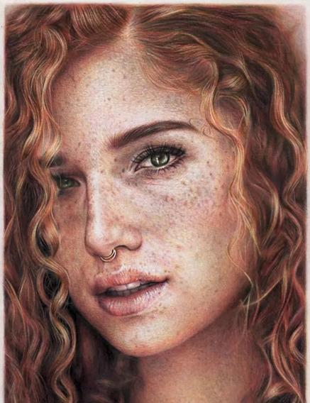 Desenho Realista Colorido De Retrato Tamanho A3 (1 Rosto)