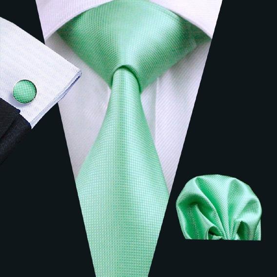 Set De Seda | Corbata Pañuelo Mancuernillas - Verde Menta