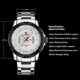 Relógio Naviforce 9085 Prata, Aço Inoxidável Resistente Lux