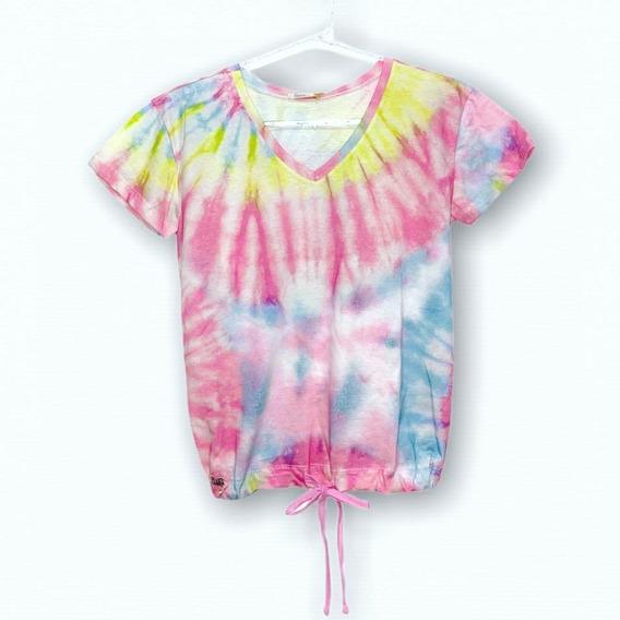 Camiseta Tie Dye Teen Juvenil Blogueira Moda Multicor