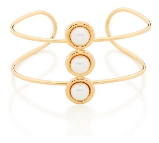 Bracelete Folheado A Ouro Com Pérolas - Rommanel