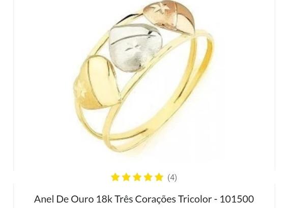 Anel De Ouro Tricolor 18k 750