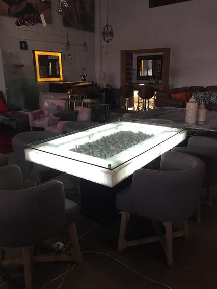 Mesa Para Comedor De Ónix Rectangular Para 6 Personas