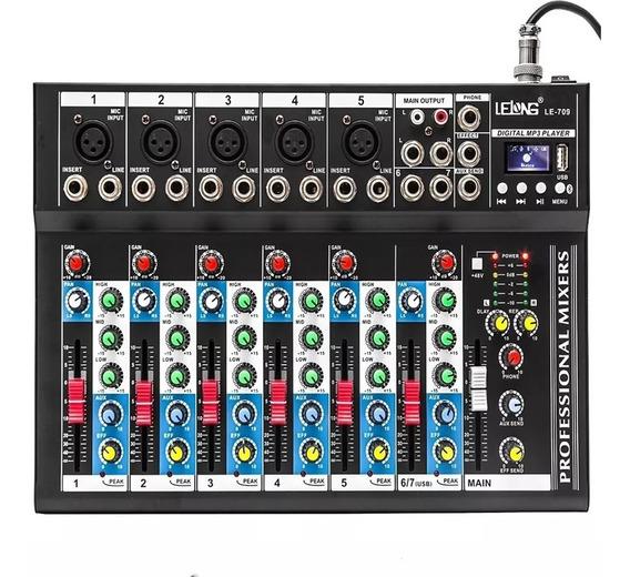 Mesa Som 6 Canais Mp3 Mixer Efeito Bluetooth Usb Phantom Xlr