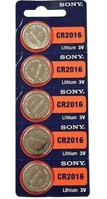 Bateria Lithium 3v Cr2016 Sony Cartela C/ 5 Unidades