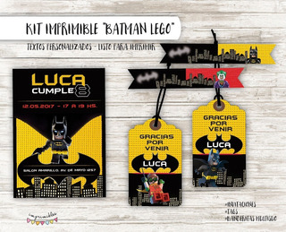 Kit Batman Lego - Textos Personalizados