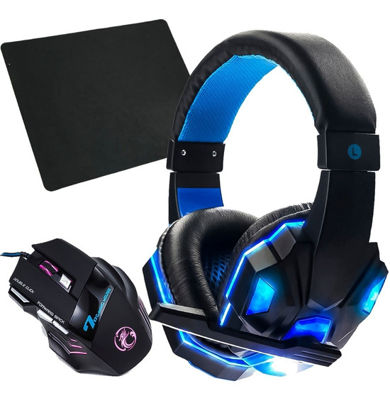 Kit Gamer Headset Celular Ps4 Xbox Pc Mouse 3000 Dpi +brinde