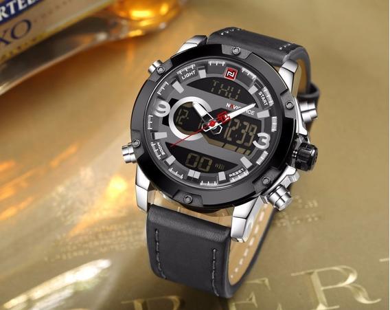 Relógio Masculino Couro Original Analogico E Digital