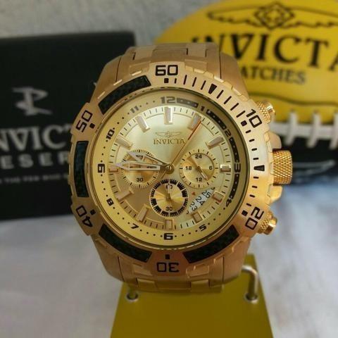 Invicta Pro Diver 51mm 24860 Banhado Ouro 18k Original+nf-e