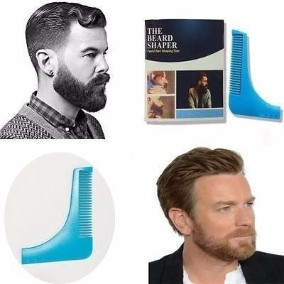 Pente Barba Alinhador Modelador Bigode Barbeiro Azul