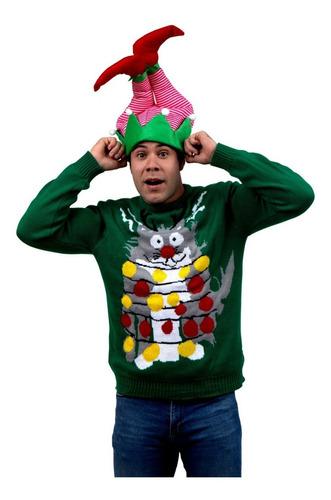 Imagen 1 de 1 de Suéter Ugly Sweater Verde Gato Enredado Navideño