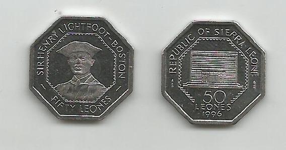 Moneda Octogonal Sierra Leona 50 L. 1996 S/c
